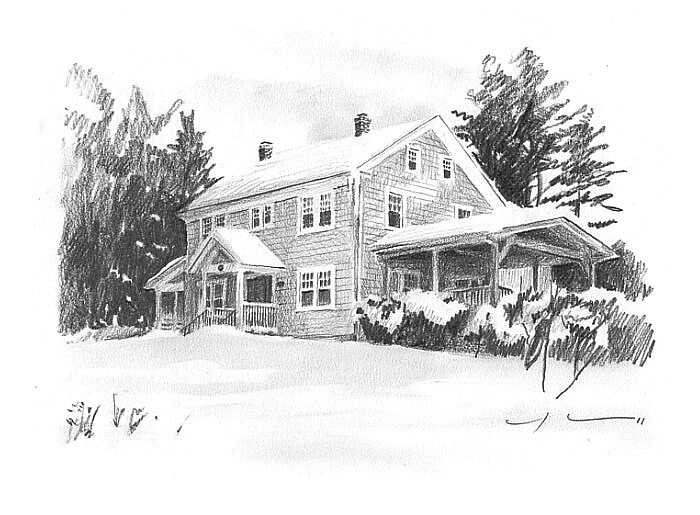 Pencil house portrait from a photo of a winter house by portrait artist Mike Theuer.