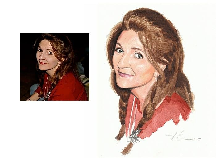 Watercolor portrait from a photo of a woman with braids by portrait artist Mike Theuer. Photo reference included.