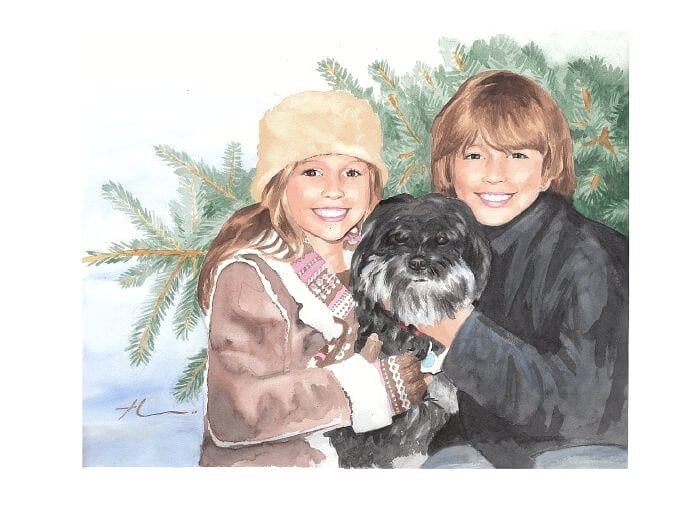 Watercolor portrait from a photo of a bro, a sis, a dog and a Christmas tree by portrait artist Mike Theuer.