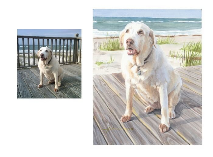 Watercolor pet portrait from a photo of a yellow labrador by the ocean by portrait artist Mike Theuer. Photo reference included.