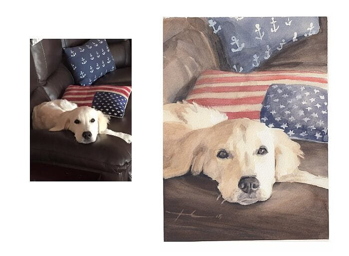 Watercolor pet portrait from a photo of yellow lab on a couch by portrait artist Mike Theuer. Photo reference included.