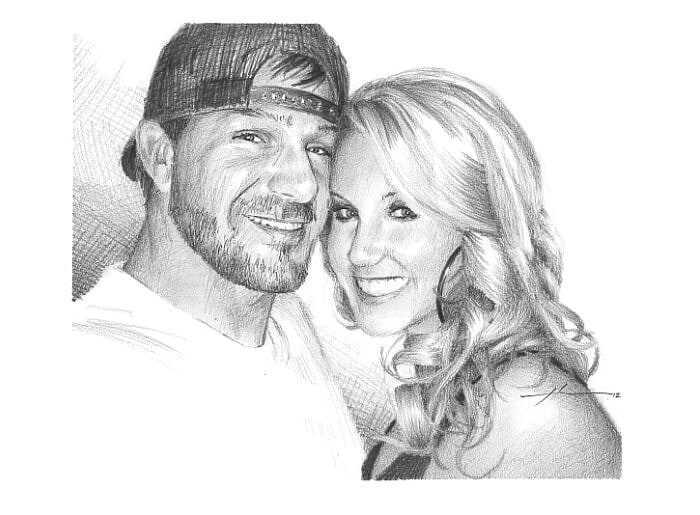 Pencil portrait from a photo of a young couple by portrait artist Mike Theuer.