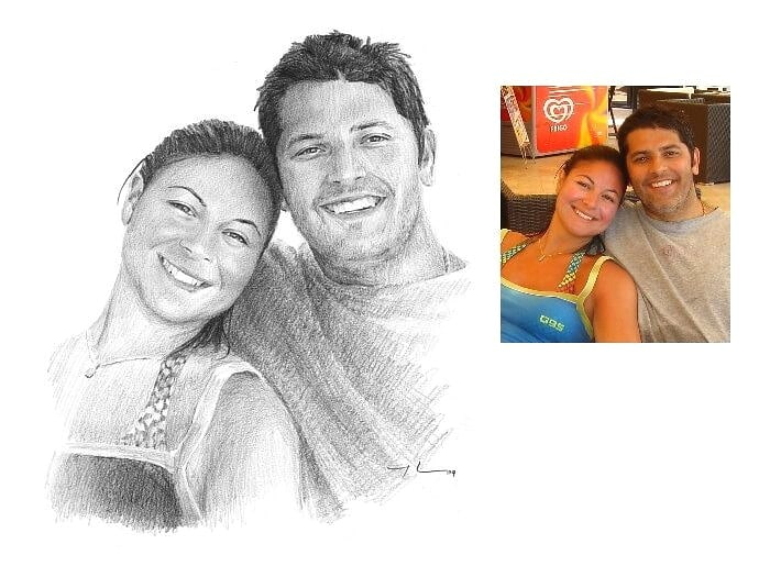 Pencil portrait from a photo of a young sporty couple by portrait artist Mike Theuer. Photo reference included.