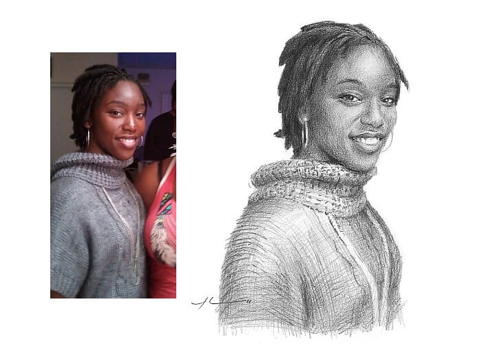 Pencil portrait from a photo of dear friend by portrait artist Mike Theuer. Photo reference included.