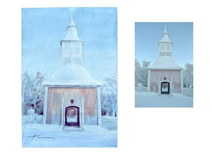 Watercolor church portrait from a photo of an arctic church by portrait artist Mike Theuer.  Photo reference included.