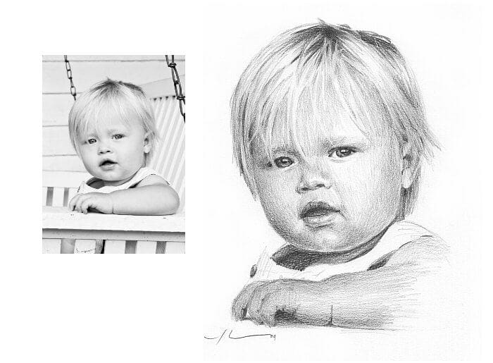 Pencil portrait from a photo of a baby boy by portrait artist Mike Theuer. Photo reference included.