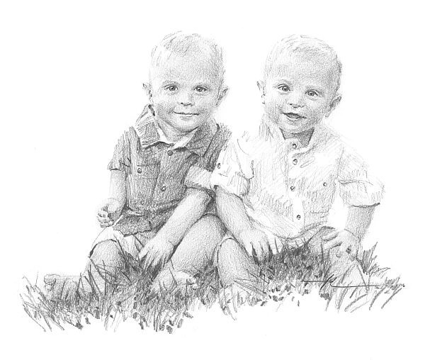 twin baby brothers pencil portrait by portrait artist mike theuer