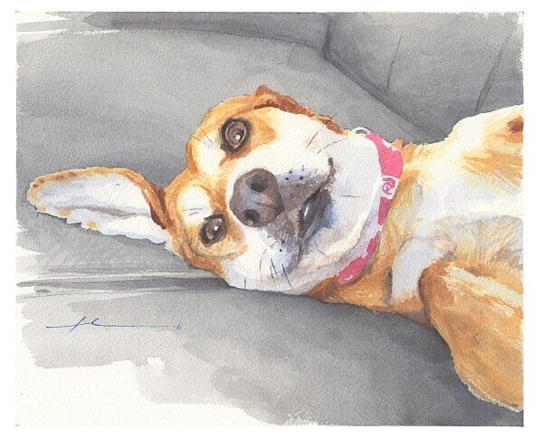beagle lounging on a couch watercolor portrait by portrait artist mike theuer