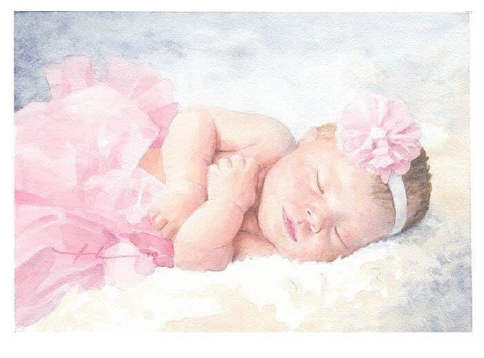 newborn in a tutu watercolor portrait by portrait artist mike theuer
