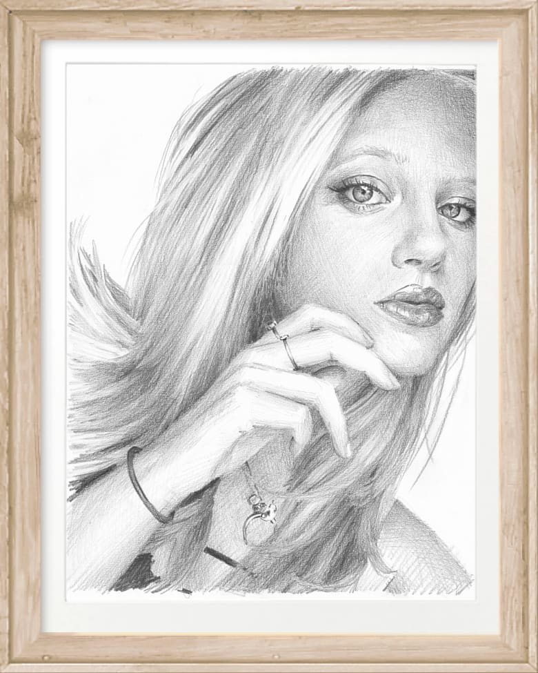 blond hair young woman pencil portrait by portrait artist Mike Theuer