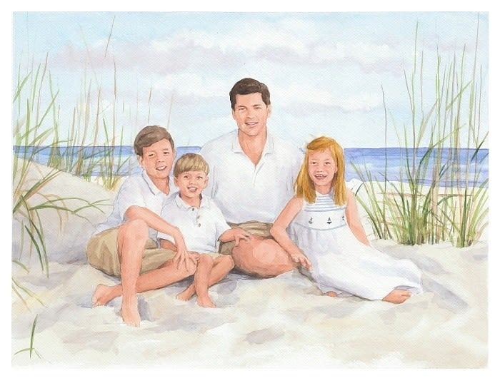 beach family watercolor painting by Mike Theuer
