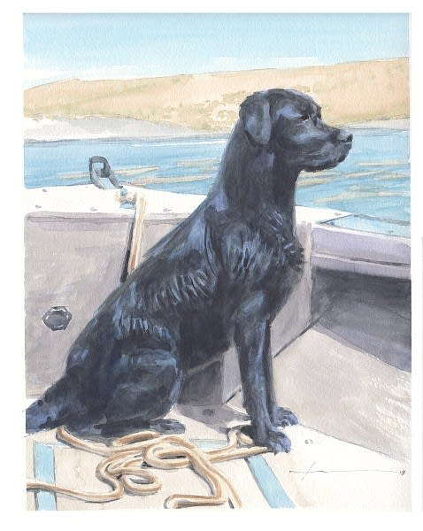 black labrador on motorboat watercolor portrait from a photo by portrait artist Mike Theuer