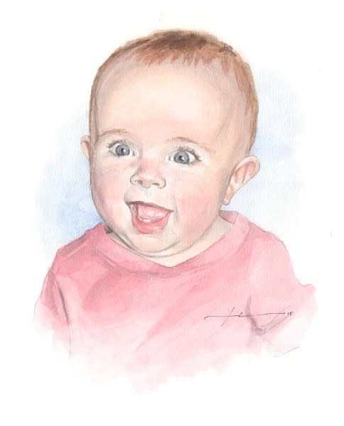 happy baby girl watercolor portrait from a photo by portrait artist Mike Theuer
