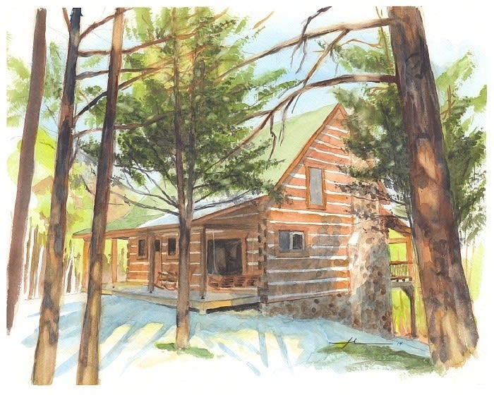 log cabin in the woods watercolor portrait from a photo by portrait artist Mike Theuer