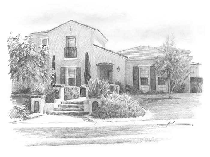Spanish style home pencil portrait from a photo by portrait artist Mike Theuer
