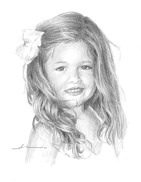 girl long hair pencil portrait