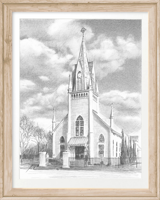 st joseph church pencil portrait by portrait artist Mike Theuer
