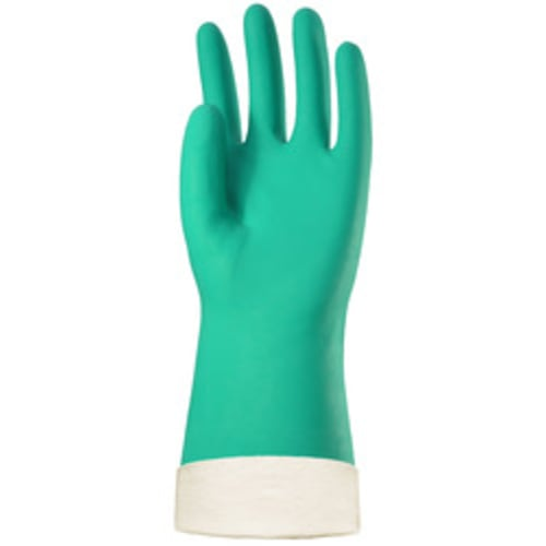 "Cotton Lined Green Nitrile 13"" Gloves, 11 mil, Diamond Grip"