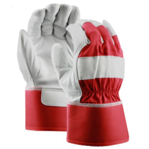 Red Grain Goatskin Leather Palm Gloves with Safety Cuff