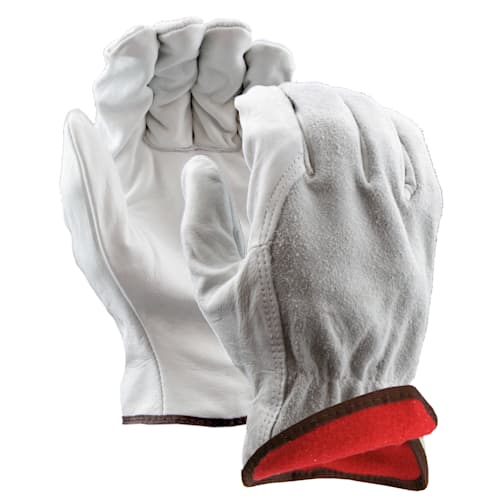 Insulated Leather Drivers Gloves, Split Leather Back, Wing Thumb