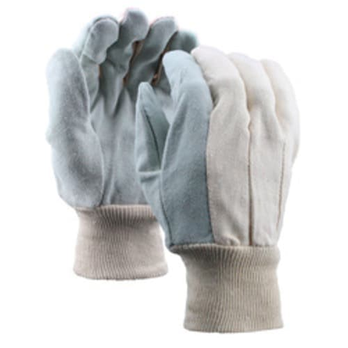 Leather Palm Gloves with Knit Wrist, Cotton Back, Select Shoulder