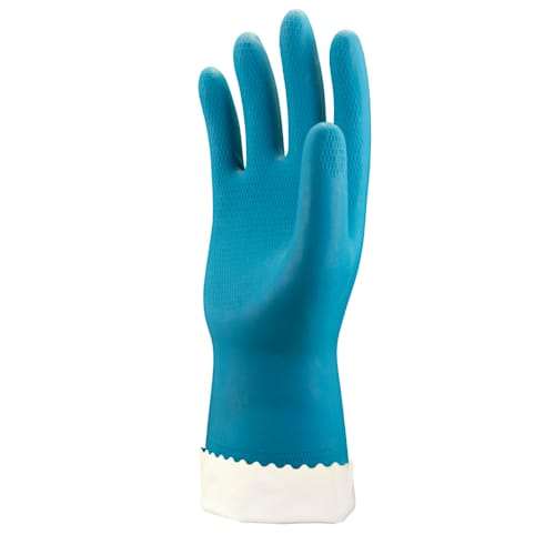 Blue Flock Lined Latex Gloves, 18 mil, Honeycomb Grip