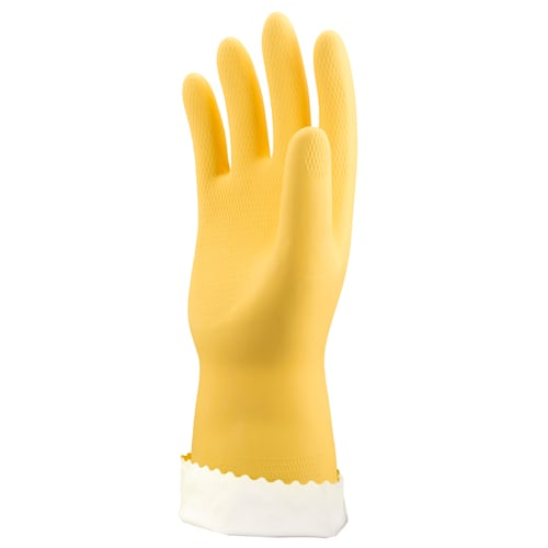 Yellow Flock Lined Latex Gloves, 18 mil, Honeycomb Grip