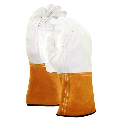 Leather MIG/TIG Welding Gloves with Leather Gauntlet Cuff