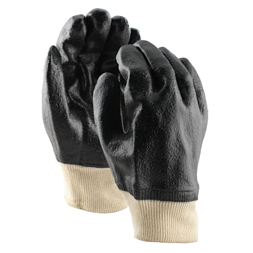 Black PVC Coated Gloves, Double Dip, Rough Finish, Knit Wrist