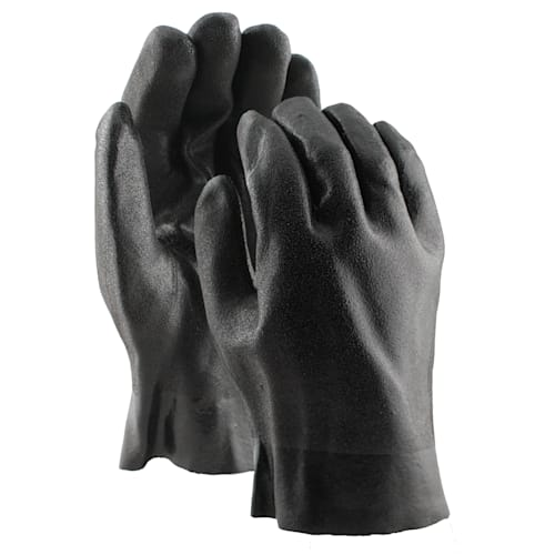 "Black PVC Coated 10"" Gloves, Double Dipped with Rough Finish"
