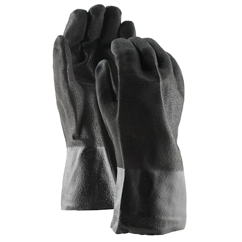 "Black PVC Coated 12"" Gloves, Double Dipped with Rough Finish"