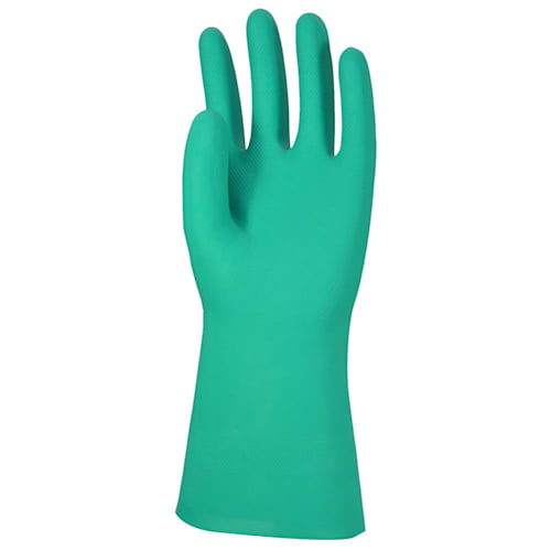 "Unlined Green Nitrile 13"" Gloves, 15 mil, Diamond Grip"