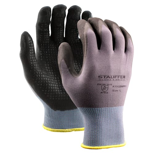 Gray Nylon/Spandex Gloves, Black Nitrile Foam with Dots
