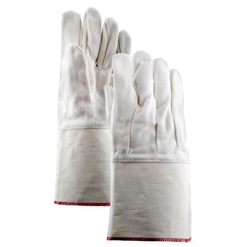 10 oz. 100% Cotton Single Palm Gloves with Gauntlet Cuff