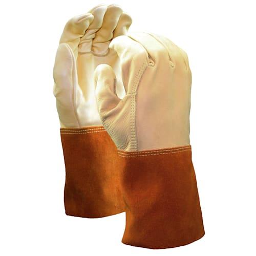 Cowhide Welder Gloves with Leather Gauntlet Cuff, Premium Grade