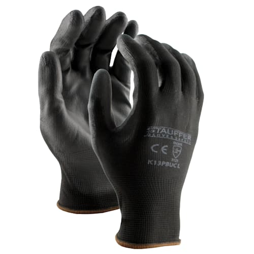 Black Polyester Glove with PU Palm Coating