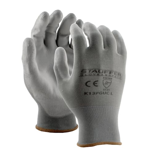 Gray Polyester Gloves with Gray PU Palm Coating