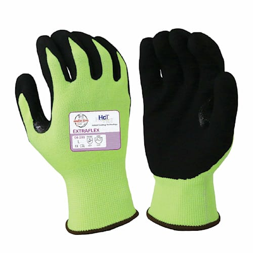 Extraflex Gloves, 18g Yellow Engineered Liner, Black HCT Microfoam Nitrile Palm, A3 Cut Resistance