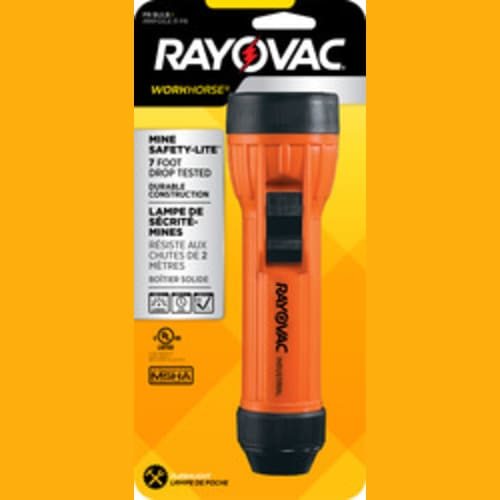 Rayovac Workhorse IN2-MSE Mine Safety 2D Flashlight with Shock and Corrosion Resistance