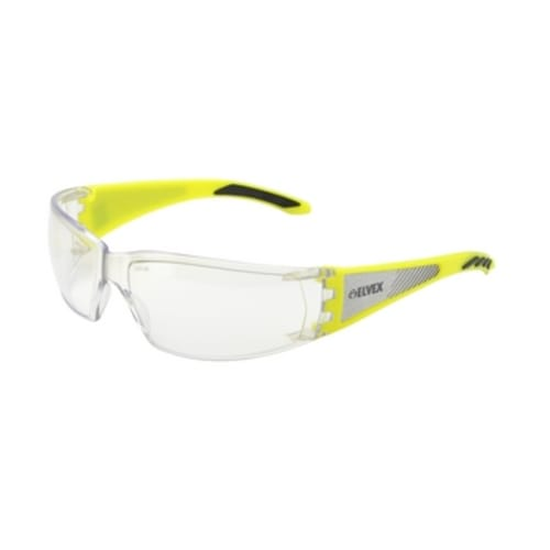 Hi-Vis Safety Glass with Reflective side pannels on temple. Clear Anti-Fog lens