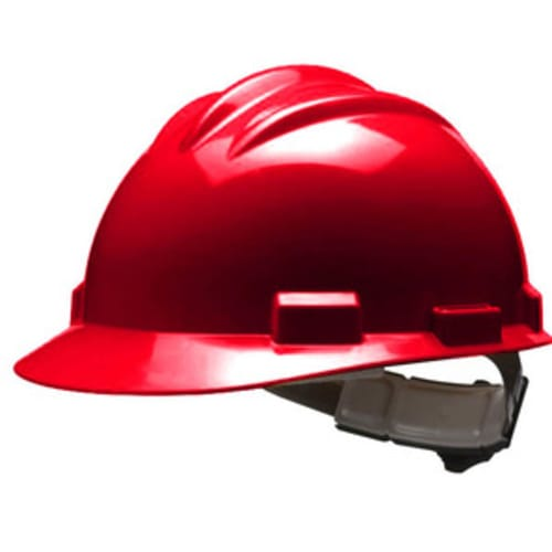Model S61 Hard Hats, Red, Ratchet, Cotton Browpad