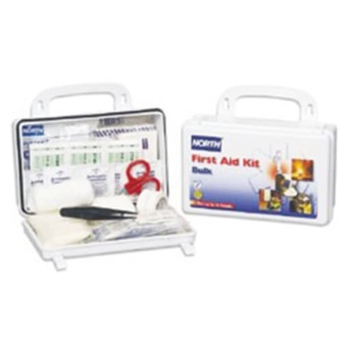 First Aid Kit, 5 in W X 8 in L X 2-3/4 in H, Plastic Case, White