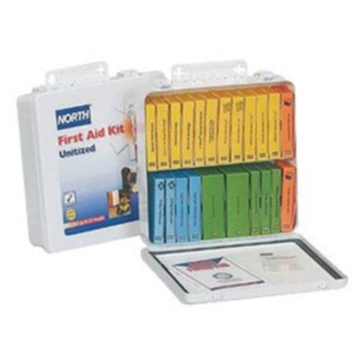 Honeywell Safety Products - First Aid Kit, 6-5/8 in W X 9-1/2 in L X 2-5/8 in H, Metal Case, White