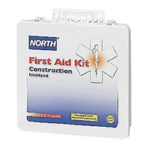 First Aid Kit, 10-7/8 in W X 9-7/8 in L X 2-7/8 in H, Metal Case, White