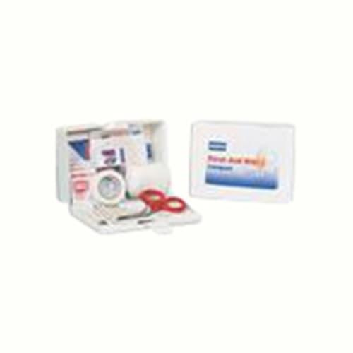 Compact First Aid Kit, 5 in W X 3-5/8 in L X 2 in H, Metal Case, White