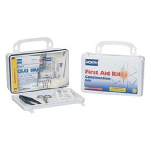 Construction First Aid Kit, 5-1/8 in W X 8 in L X 2-3/4 in H, Plastic Case, White
