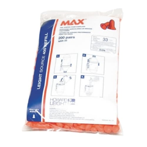 Howard Leight Max Single-Use Ear Plug, Universal, 33 dB, Bell, Uncorded, Coral