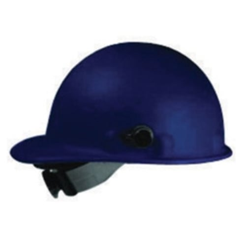 Roughneck P2 Slotted Hard Hat, Universal, Front brim Style, Fiberglass, Blue