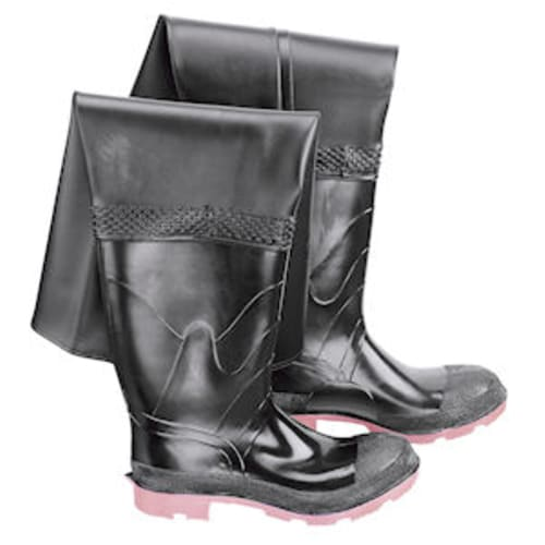 Hip waders with steel toe & cleated outsole