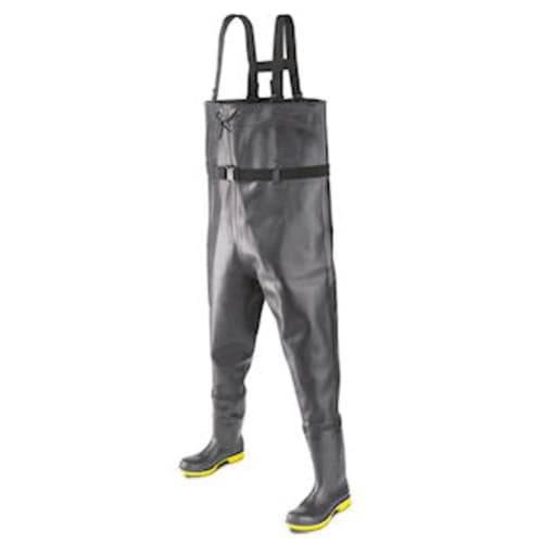 Chest waders with steel toe and midsole